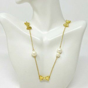 Kate Spade NY Gold Tone Faux Pearl Bow Necklace